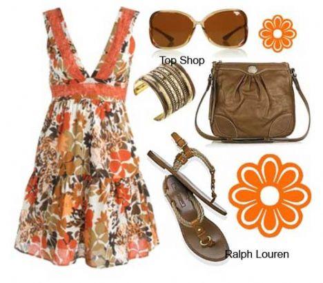 V yaka rengarenk çiçeklerle uyum sağlamış elbiseniz ve koyu kahverengi çanta ve ayakkabınızla günlük şıklığı doruklarda yaşayabilirsiniz.